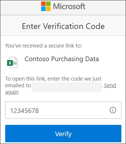 OneDrive dış paylaşım doğrulama kodu penceresi