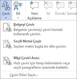 Office programlarında sağlanan çeviri araçları