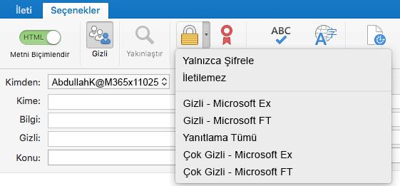 Office 365 İleti Şifrelemesi desteğiyle sunulan yeni şifreleme seçeneği, İletmeyin ve IRM şablonları