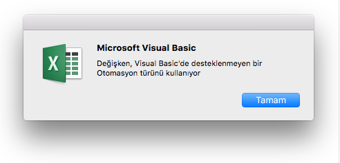 Microsoft Visual Basic Hatası: Değişken kullanımı ve otomasyon türü Visual Basic'te desteklenmiyor.