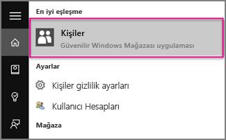 Windows 10'da Kişiler yazın