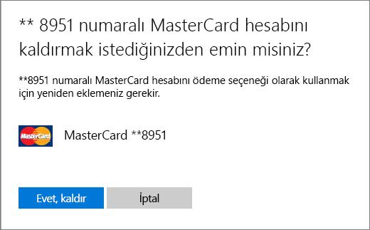 Kredi kartı kaldırma işlemi doğrulama sayfası.