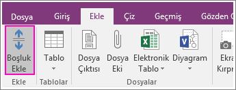 OneNote 2016'daki Boşluk Ekle düğmesinin ekran görüntüsü.