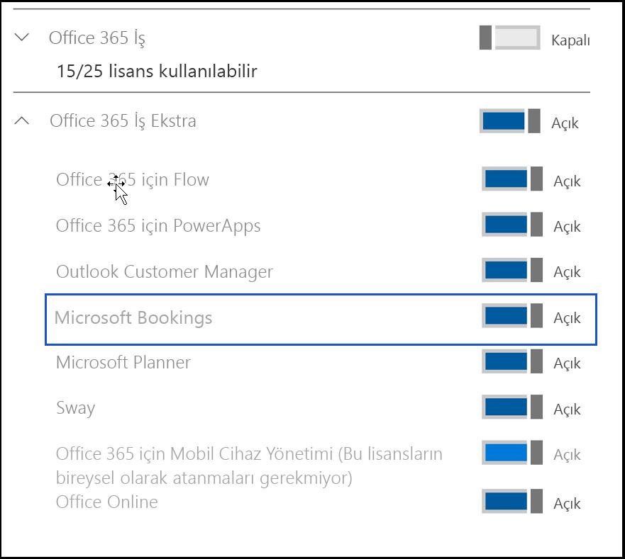 Microsoft Bookings ayarı'da kullanıcının ürün lisansları devre dışı bırakılmış gösteren ekran görüntüsü.