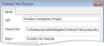 Outlook Veri Dosyası iletişim kutusu