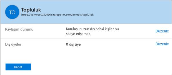 Belirli bir site koleksiyonu için paylaşma özelliğinin kapalı olduğunu gösteren paylaşım durumu iletişim kutusu.