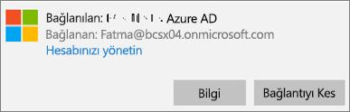 Bağlanılan Azure AD iletişim kutusunda Bilgi'ye tıklayın veya dokunun.