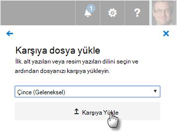 Webvtt dosyaları karşıya yükleme için kullanıcı arabirimi.