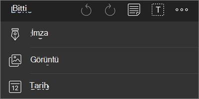 İOS için OneDrive PDF Işaretleme gezinti menüsü için diğer seçenekler