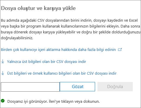 CSV dosyanız doğrulandı