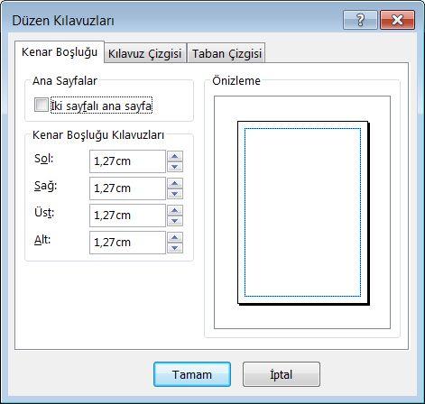 Publisher Düzen Kılavuzu iletişim kutusu