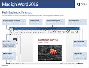 Mac için Word 2016 Hızlı Başlangıç Kılavuzu