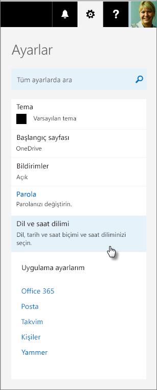 Office 365 ayarları bölmesi.