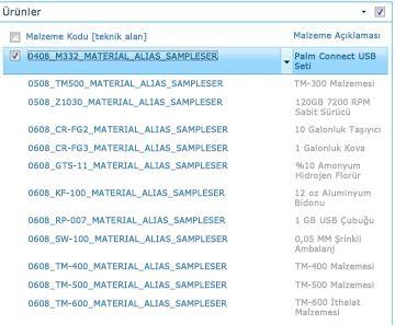 Ürünler sitesi, SAP kitaplığınızdaki ürünlerin bir listesini gösteriyor.