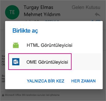 Android 2 için Outlook ile OME Görüntüleyicisi