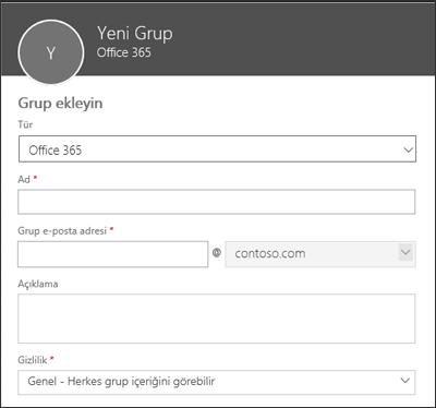 Yeni Office 365 Grubu, yeni dağıtım listesi veya yeni güvenlik grubu oluşturun