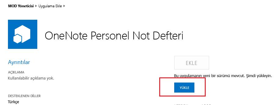 Personel Not Defteri Oluşturucu uygulaması için güncelleştirme iletişim kutusunun ekran görüntüsü.
