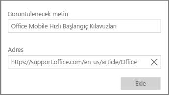 Windows 10 için OneNote'ta köprü metni bağlantısı eklemeye yönelik iletişim kutusunun ekran görüntüsü.