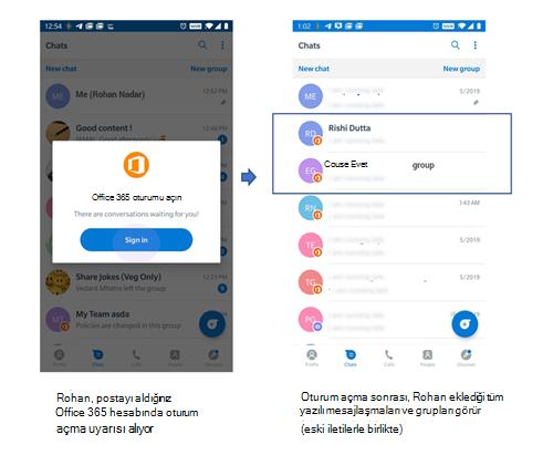 Daha önce Kaizala olmayan bir kullanıcıya yazılı mesajlaşma ve Grup almak için telefon Kullanıcı arabiriminin resmi.