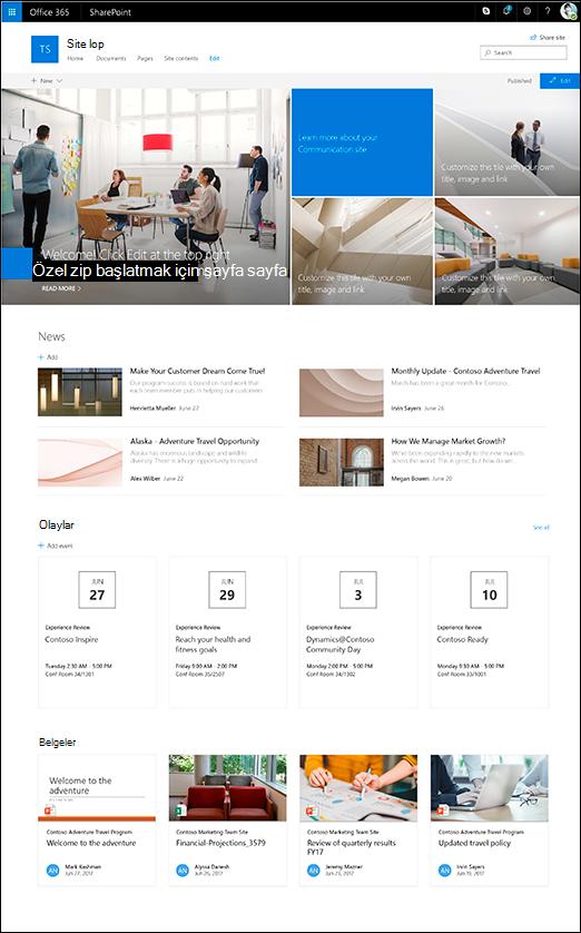 SharePoint iletişim sitesi başlığı tasarımı