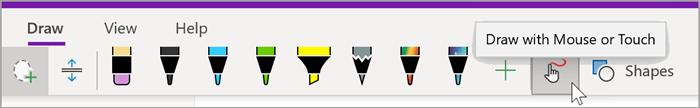 """fare ile """"Fareyle veya Dokunarak OneNote"""" düğmesinin üzerine gelindiğinde Windows 10 resim sekmesinin çizim sekmesinin ekran görüntüsü"""