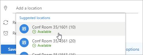 Önerilen konumlar menüsünün ekran görüntüsü