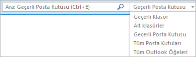 Outlook'ta, Arama kutusunu kullanın veya Kapsam grubunu bulmak için bir posta kutusu listesi veya klasör seçin.