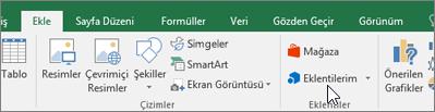 Şeritteki Ekle sekmesinde Excel eklentilerini yönetmek için Eklentiler grubu bulunur.