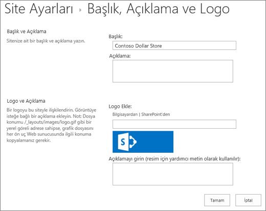 Başlık, açıklama ve logo ayarları sayfası