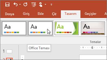Tasarım sekmesindeki Office Teması grubunun ekran görüntüsü