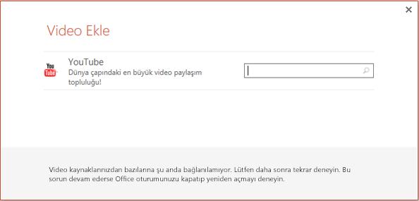 Bu, PowerPoint 2013'teki Çevrimiçi Video Ekle iletişim kutusudur.