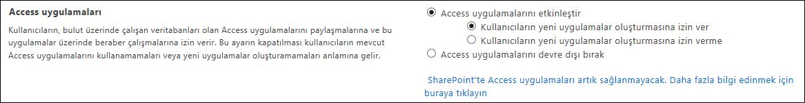 SharePoint Yönetim Merkezi sayfasındaki Access uygulama ayarlarının ekran görüntüsü