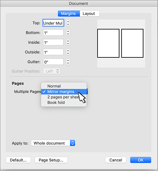 Sayfa kümesi için karşılıklı kenar boşluğu ayarlama
