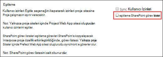Eşitleme SharePoint görev listeleri