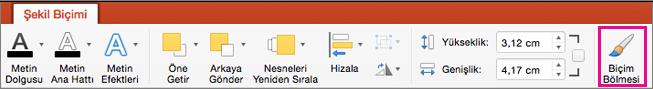 Mac için PowerPoint Şekil Biçimi sekmesi