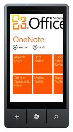 OneNote Mobile 2010 Hub'ı