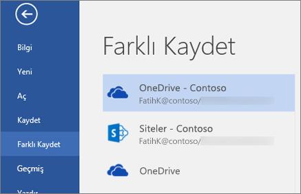 Bir Word dosyasını OneDrive İş'e kaydetme
