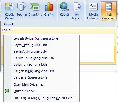Outlook 2007 Düzenle hızlı bölümler