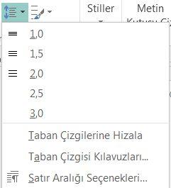 Publisher'da satır aralığını değiştirme işleminin ekran görüntüsü.
