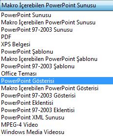Sununuzu PowerPoint Gösterisi olarak kaydedin