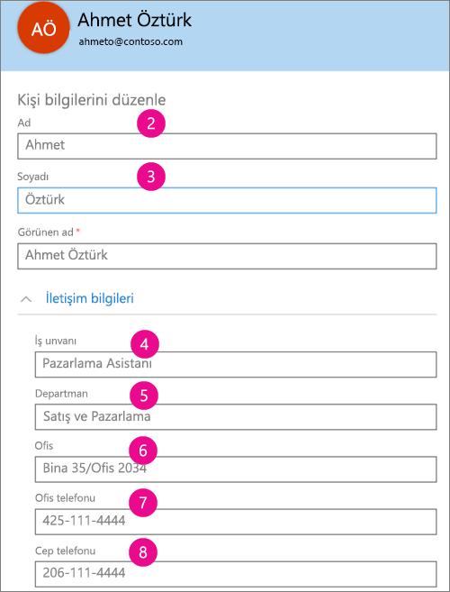 Yammer'da eşitlenen profil alanlarını gösteren ekran görüntüsü