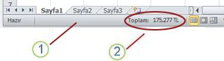 Excel durum çubuğu