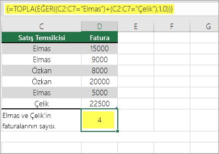 Örnek 1: TOPLA ve EĞER bir formülde iç içe
