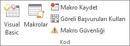 Excel'de Geliştirici sekmesinin Kod grubu