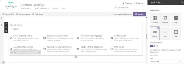 SharePoint Online 'da modern kurumsal sahanlık sitesi için örnek hızlı bağlantılar Web Bölümü girişi