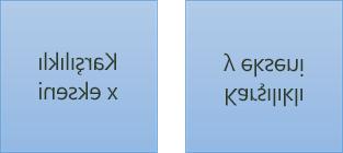 Yansıtılmış metin örneği: ilki x ekseninde 180 derece döndürülmüş ve ikincisi y ekseninde 180 derece döndürülmüş