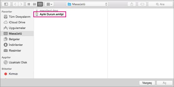 Kullanmak istediğiniz e-posta şablonunu seçin