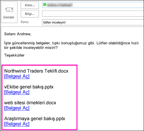 e-postaya belge bağlantıları ekleyin.