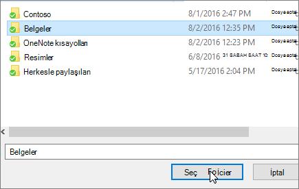 Belge özellikleri menüde bir hedef iletişim kutusunun seçin gösterildiği ekran görüntüsü.