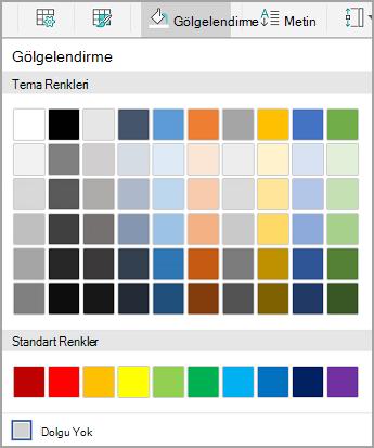 Android tablo gölgelendirme seçenekleri